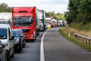 Warwick,UK - July 7, 2015: Traffic Jam on the M40 Motorway. Cars and Lorries are stationary next to the hard shoulder